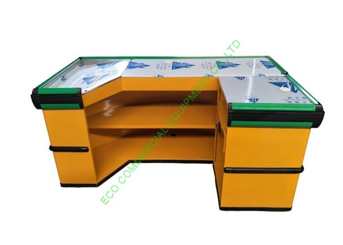 Anti - Rust Metal Cash Register Checkout Counter / Yellow Curved Reception Desk